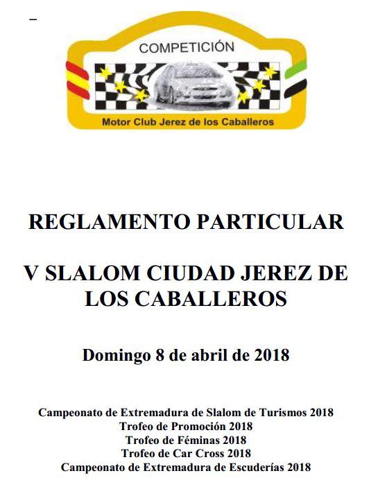 Portada Reglamento V Slalom Ciudad Jerez de los Caballeros 2018